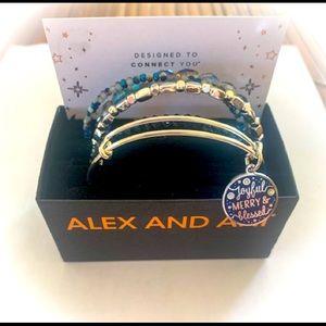 "Brand New Set of 5 Alex & Ani ""Joyful, Merry & Blessed"" Bangle Bracelets"